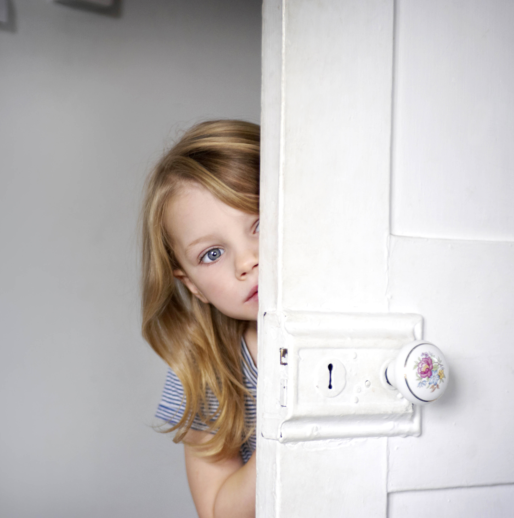 Image result for kid peeking around door