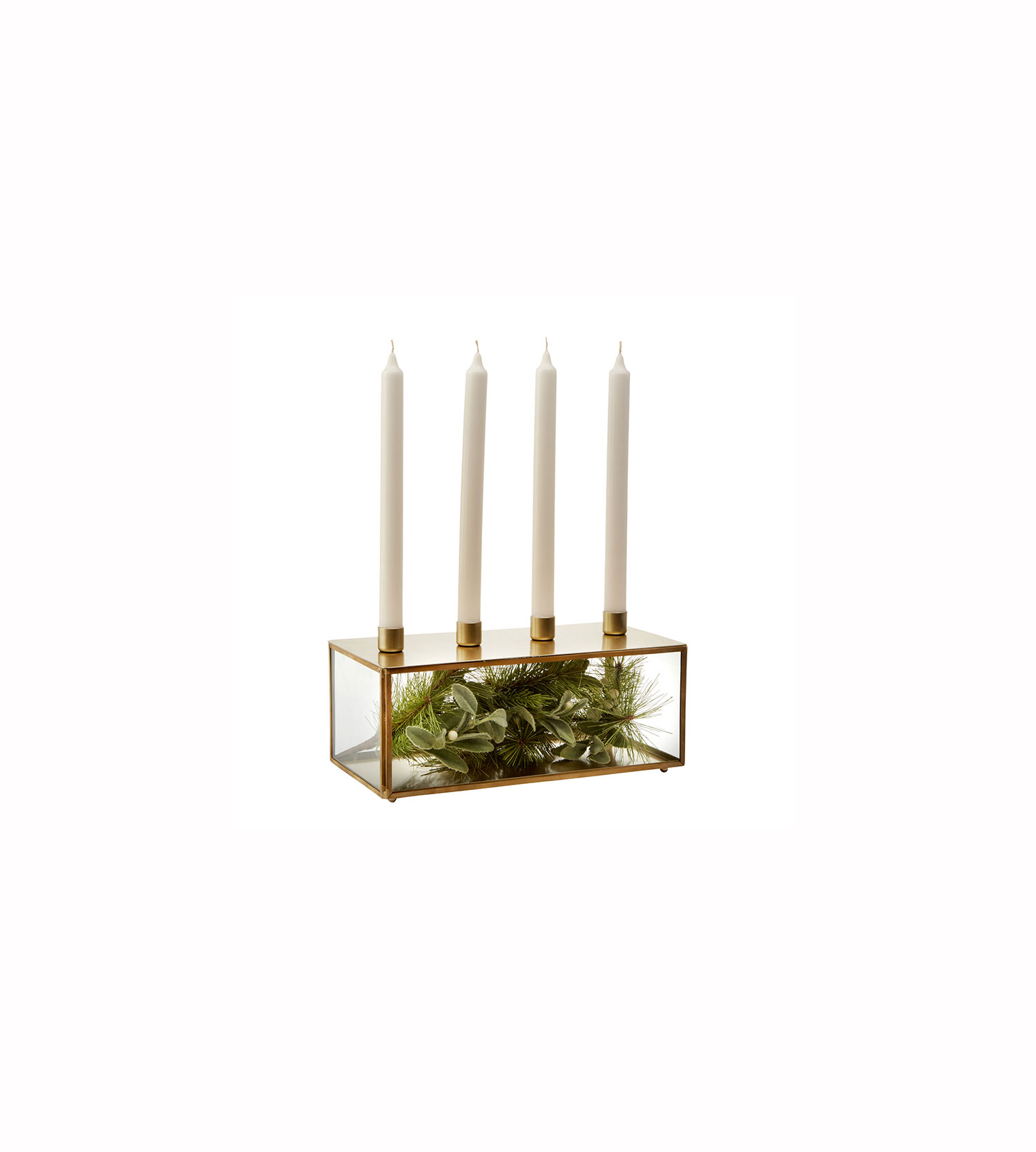 Glass and Metal Taper Candle Holder