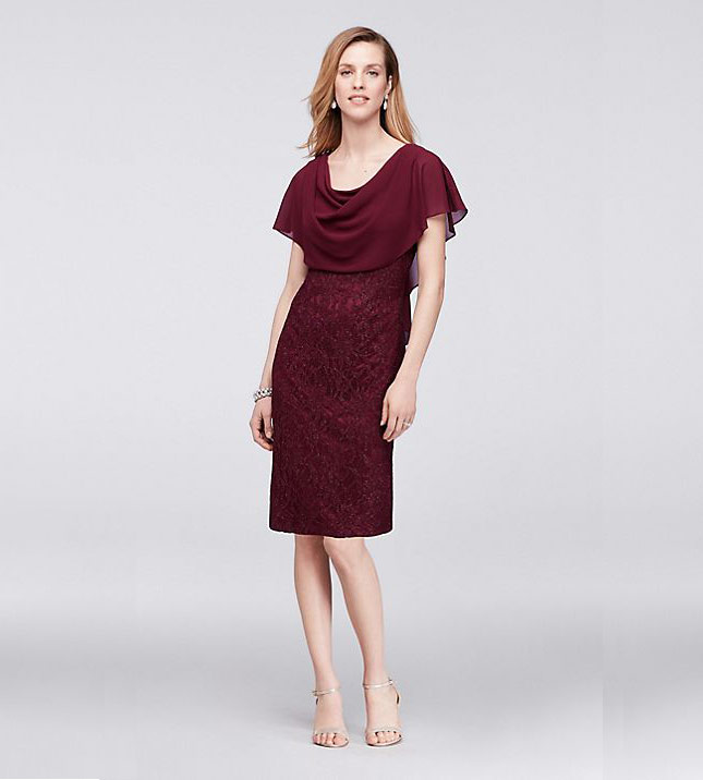 Glitter Lace Sheath Dress with Attached Capelet