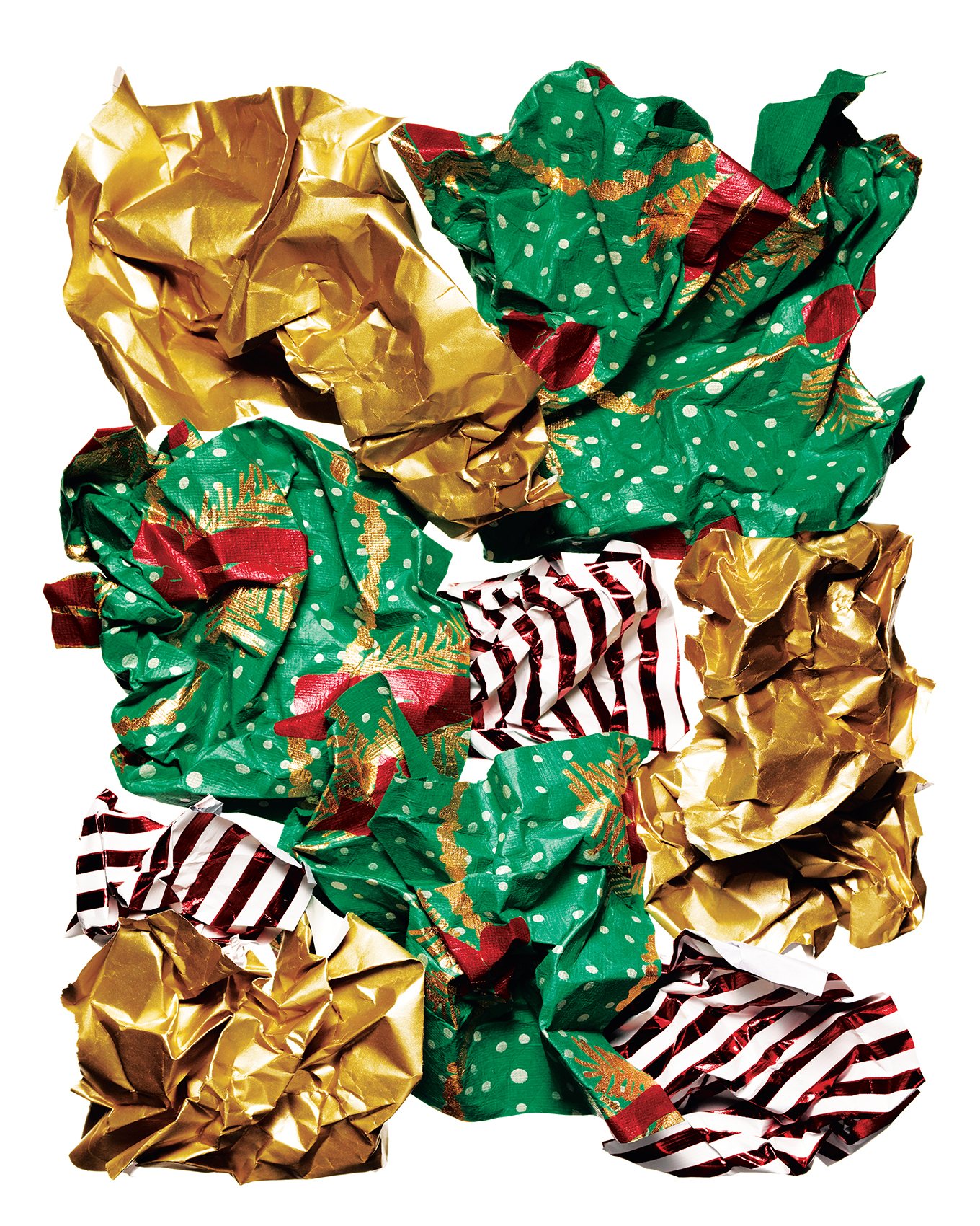 Still life of gold, green, red and white striped wrapping paper