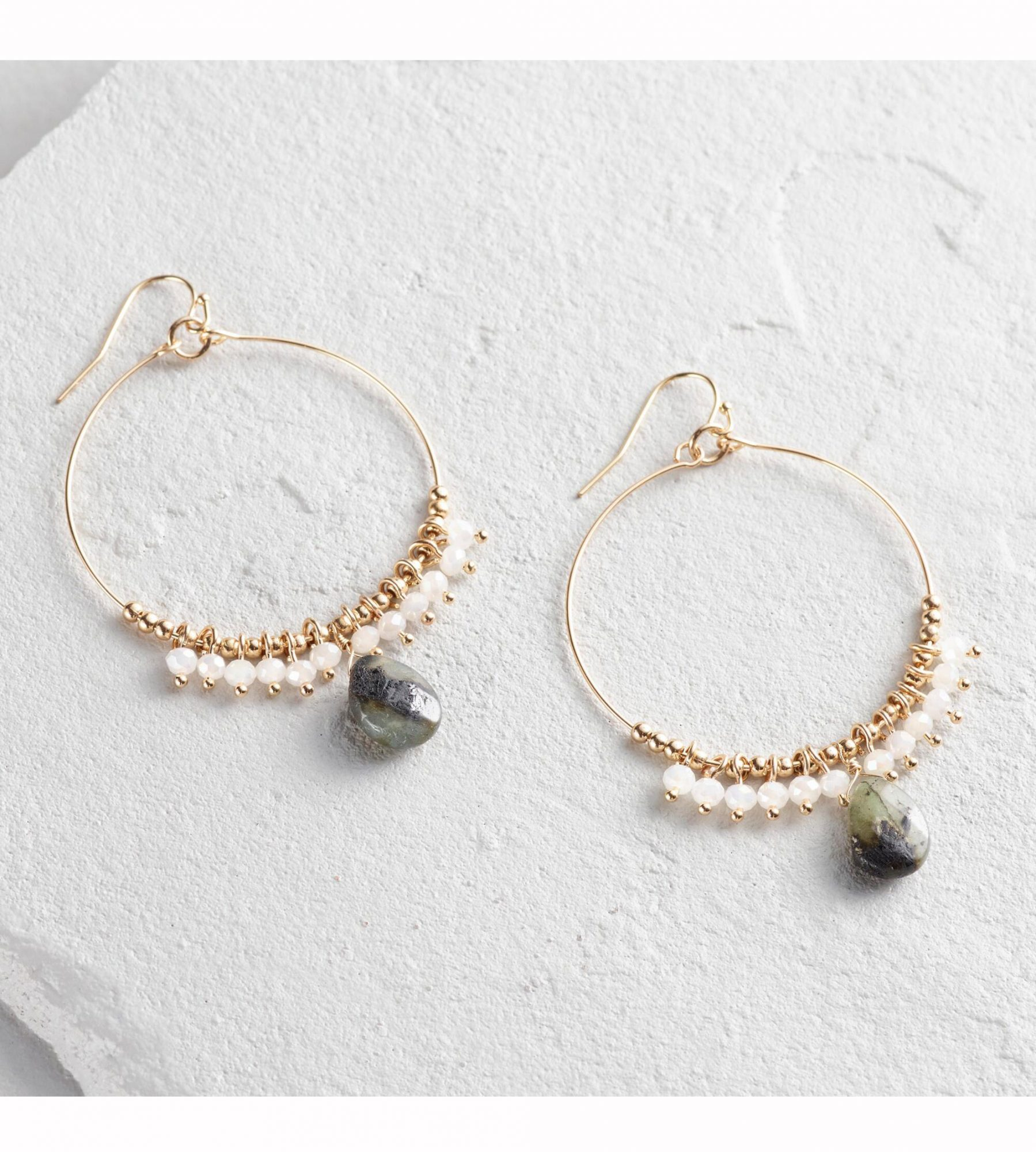 Gold Labradorite Crystal Hoops