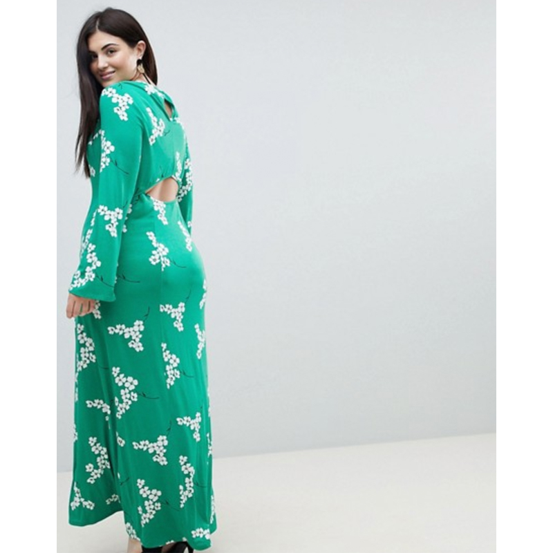 ASOS Curve Maxi Tea Dress With Open Back in Green Floral