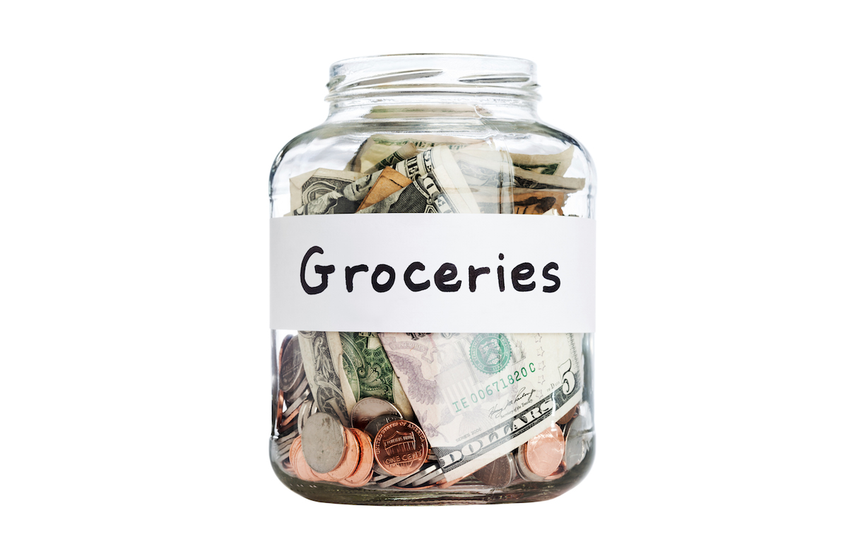 Jar with grocery money