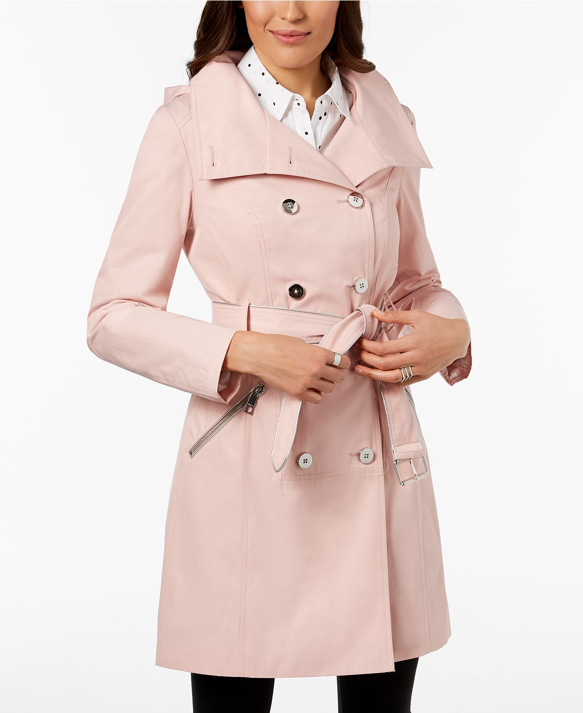 Guess Hooded Belted Double-Breasted Trench Coat