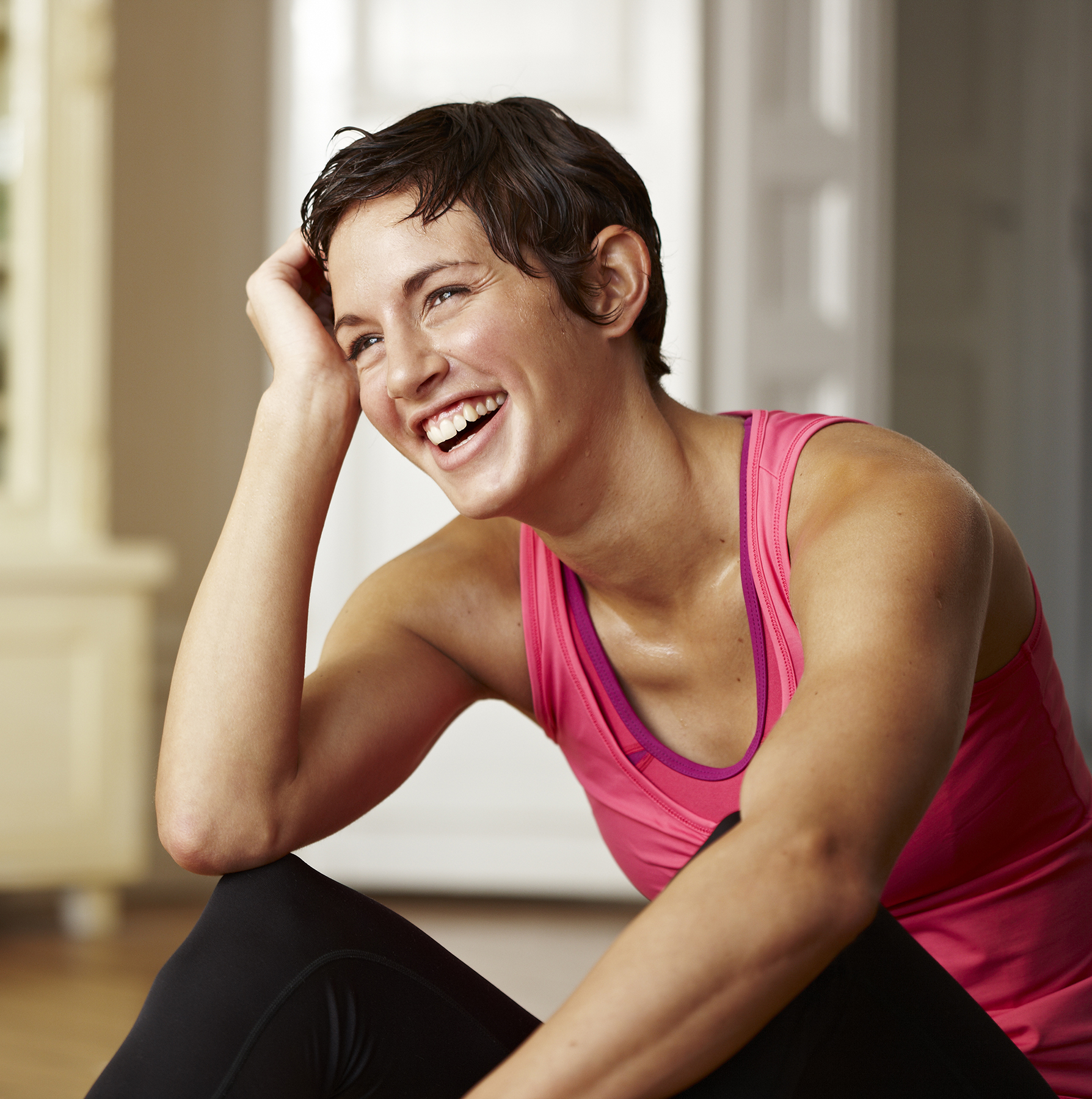 Healthy woman laughing