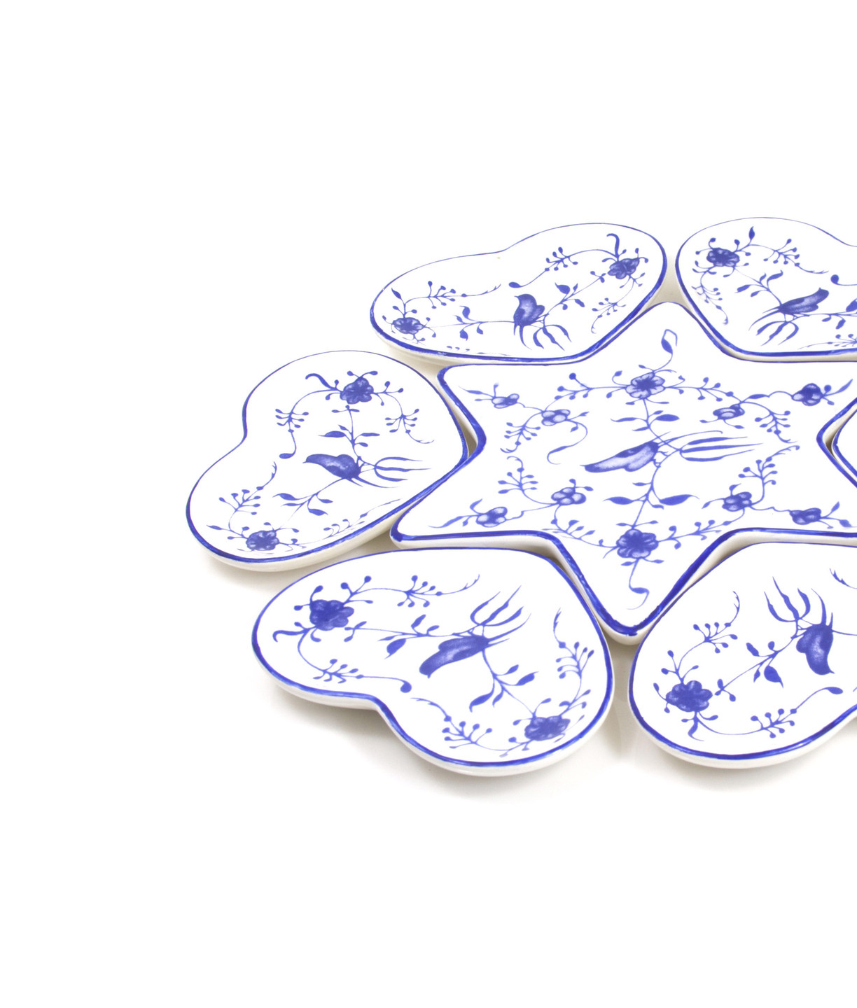 Ceramic Seder Plate With Heart Dishes