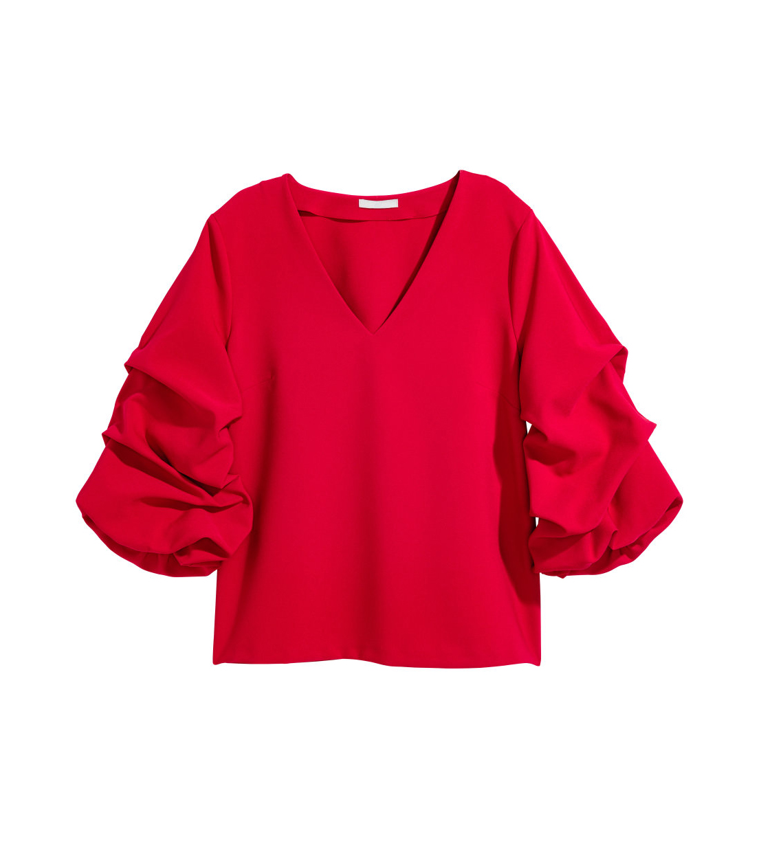 H&M Top With Draped Sleeves in red