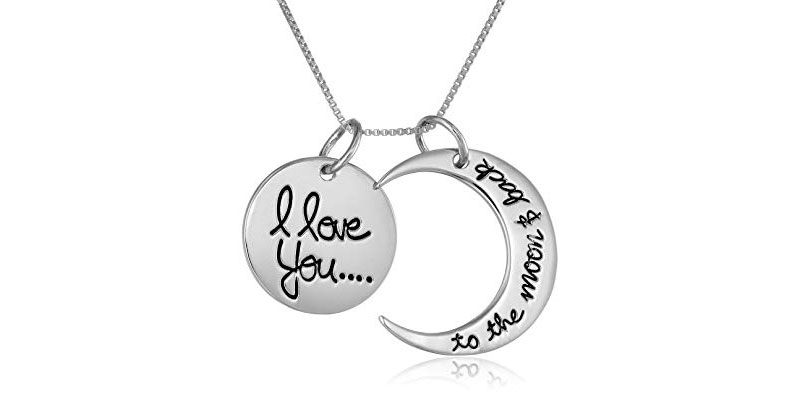 Sterling Silver I Love You to The Moon and Back Necklace