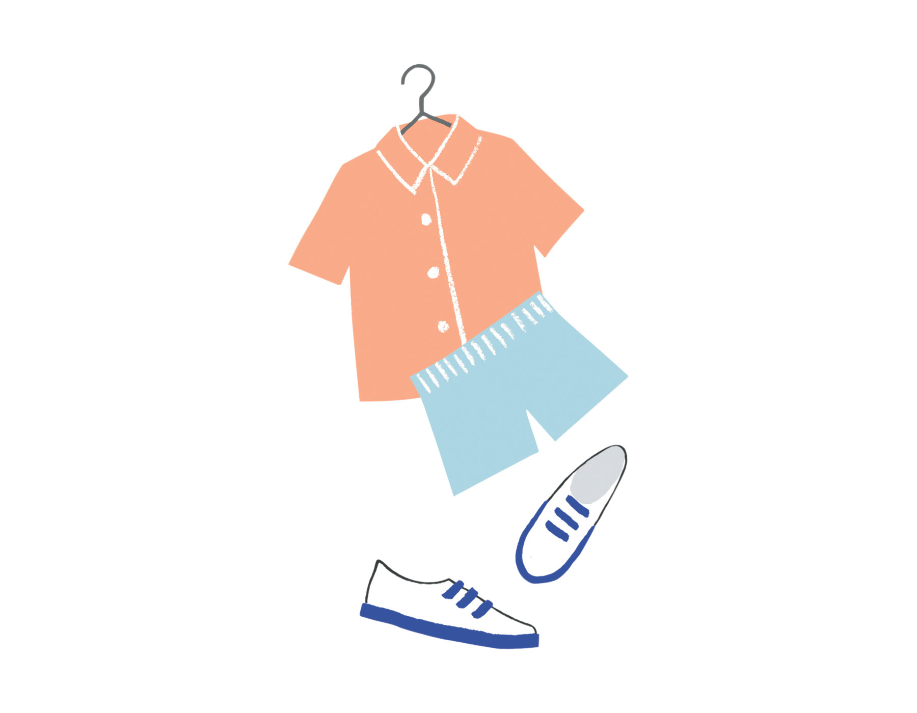 Illo: Shorts, shirt and shoes  (0618SIM)
