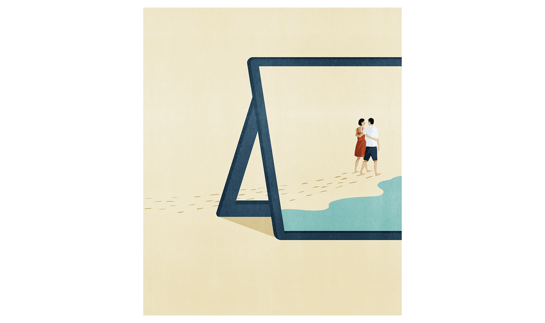 Illustration: tablet showing couple walking on the beach