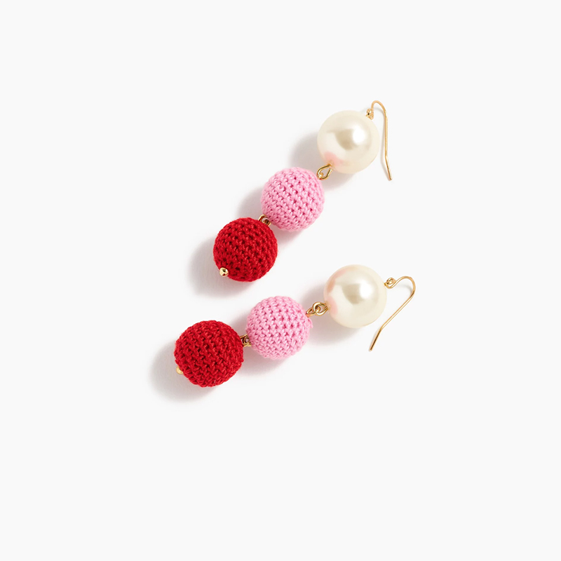 Crochet Bead and Pearl Drop Earrings