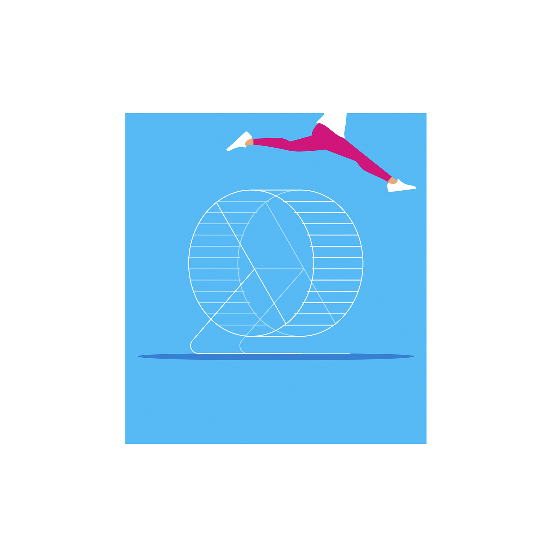 Illustration: Woman jumping over hamster wheel