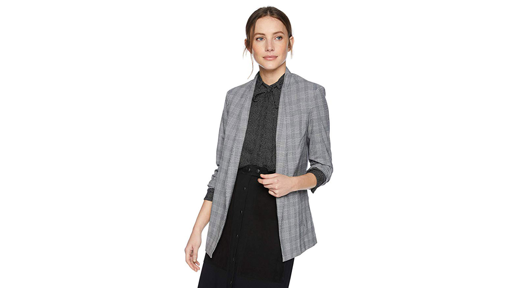 Kenneth Cole Women's Glen Plaid Blazer With Pleat Detail