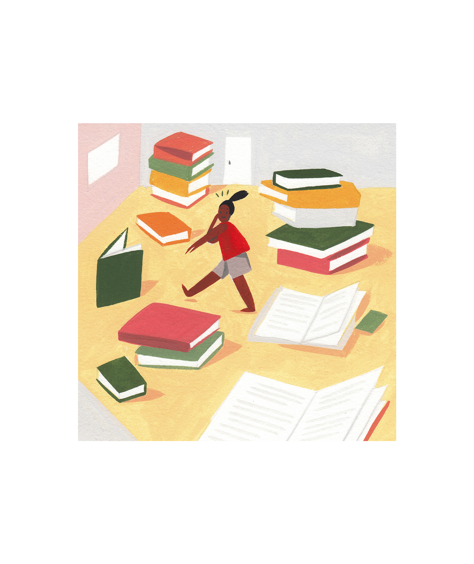 Illustration: Kid in room full of giant books