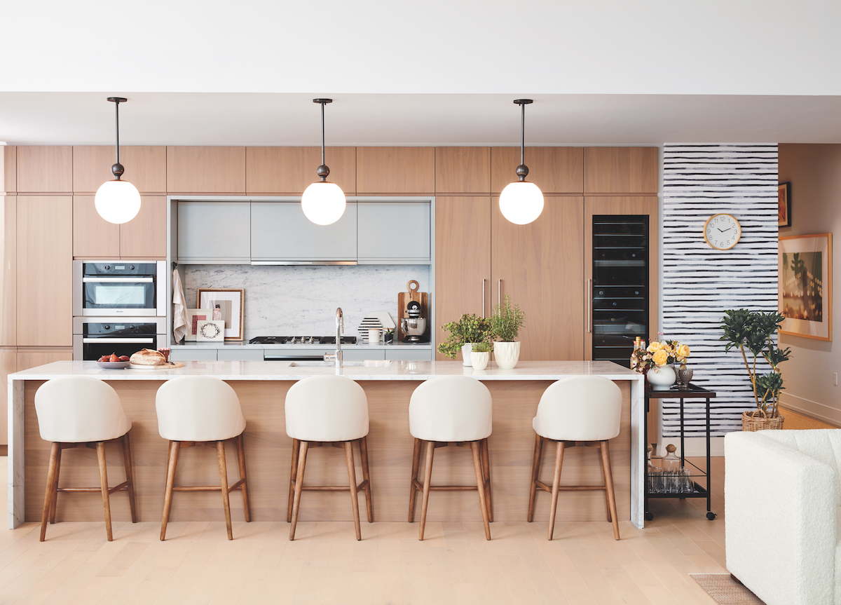 Beautiful Clean Modern Kitchen With Bar Stools