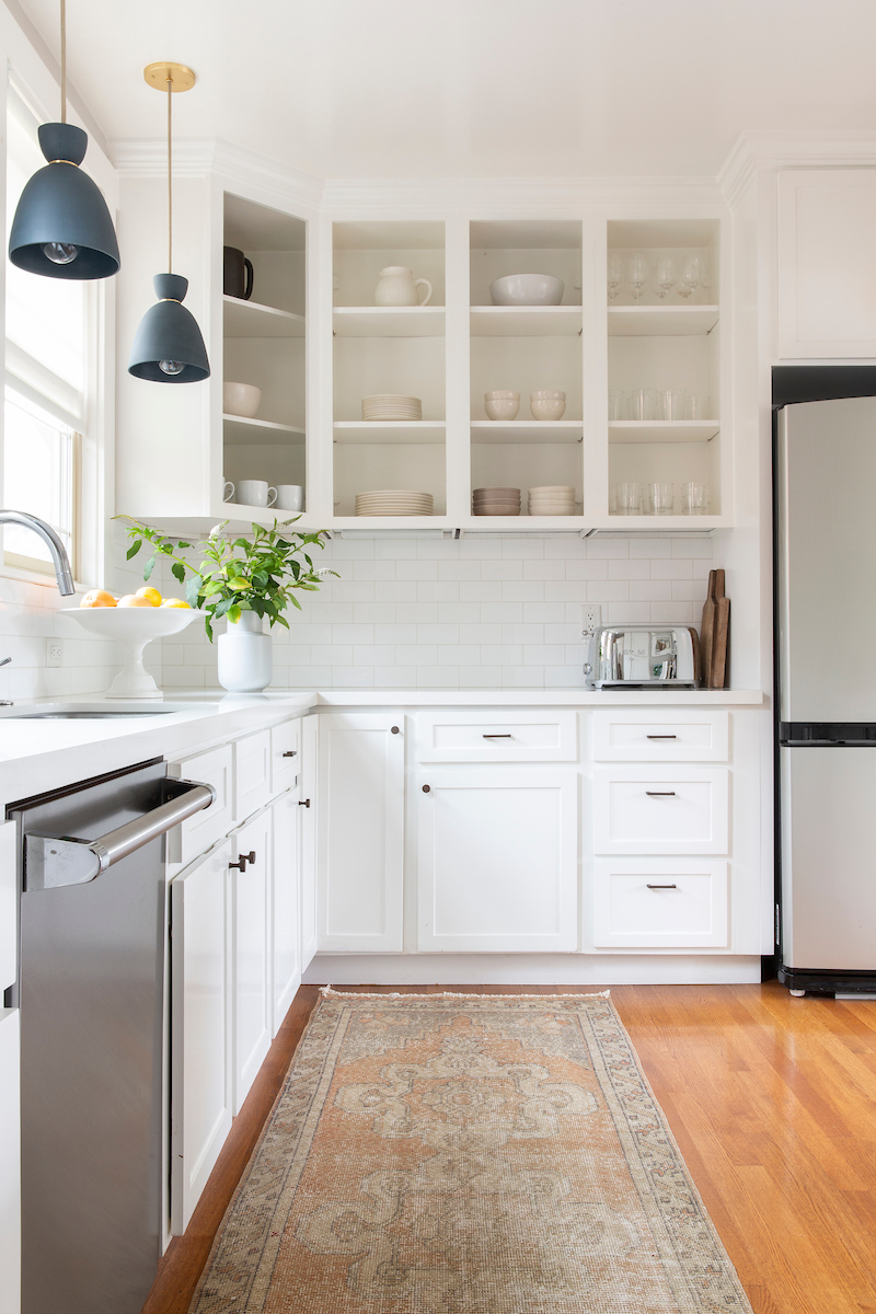 Open shelving in beautiful, organized kitchen