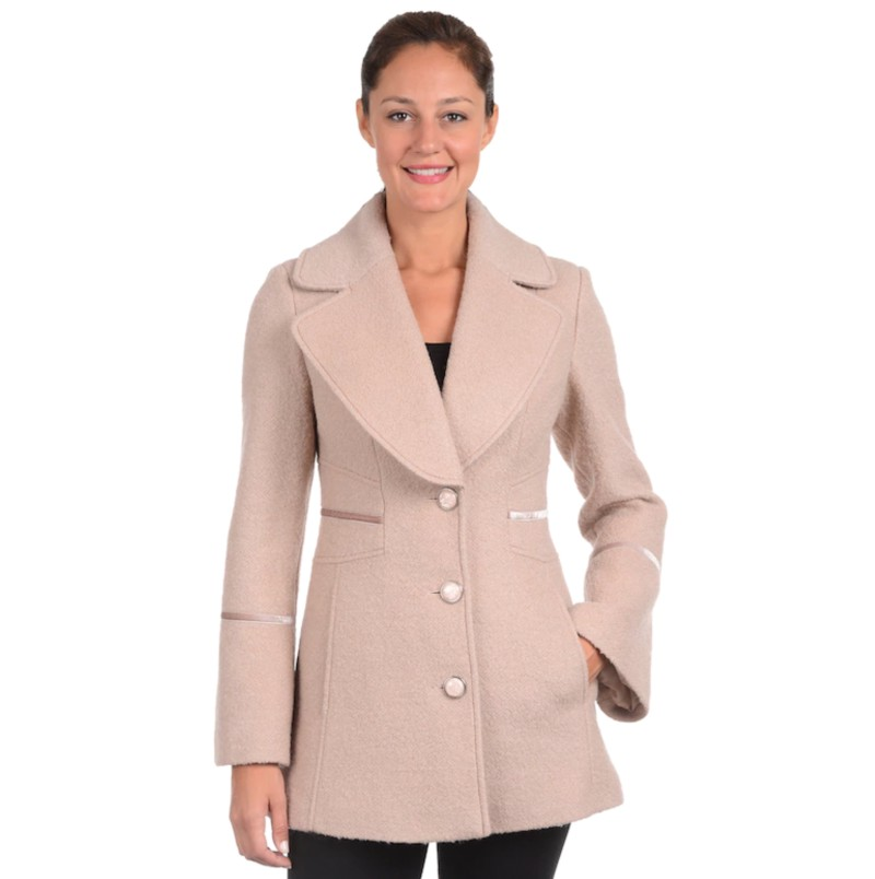 Kohl's Women's Fleet Street Boucle Wool-Blend Coat