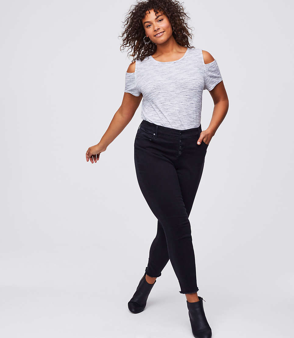 LOFT Plus Button Fly Skinny Jeans In Black