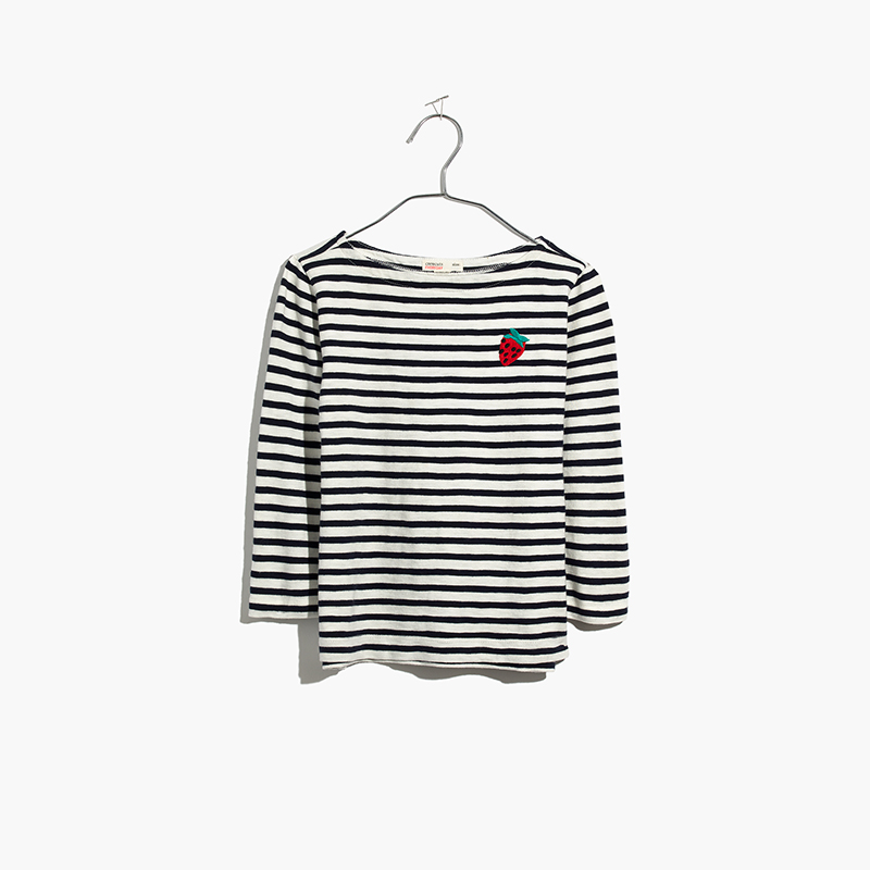 Kids' Strawberry Embroidered Striped Tee