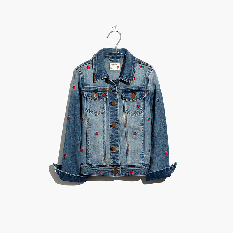 Kids' Strawberry Embroidered Jean Jacket