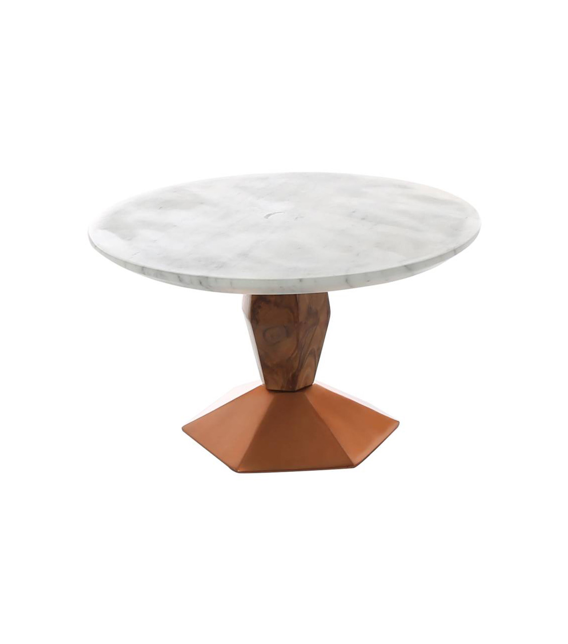 Marble & Wood Cake Stand with Copper Base