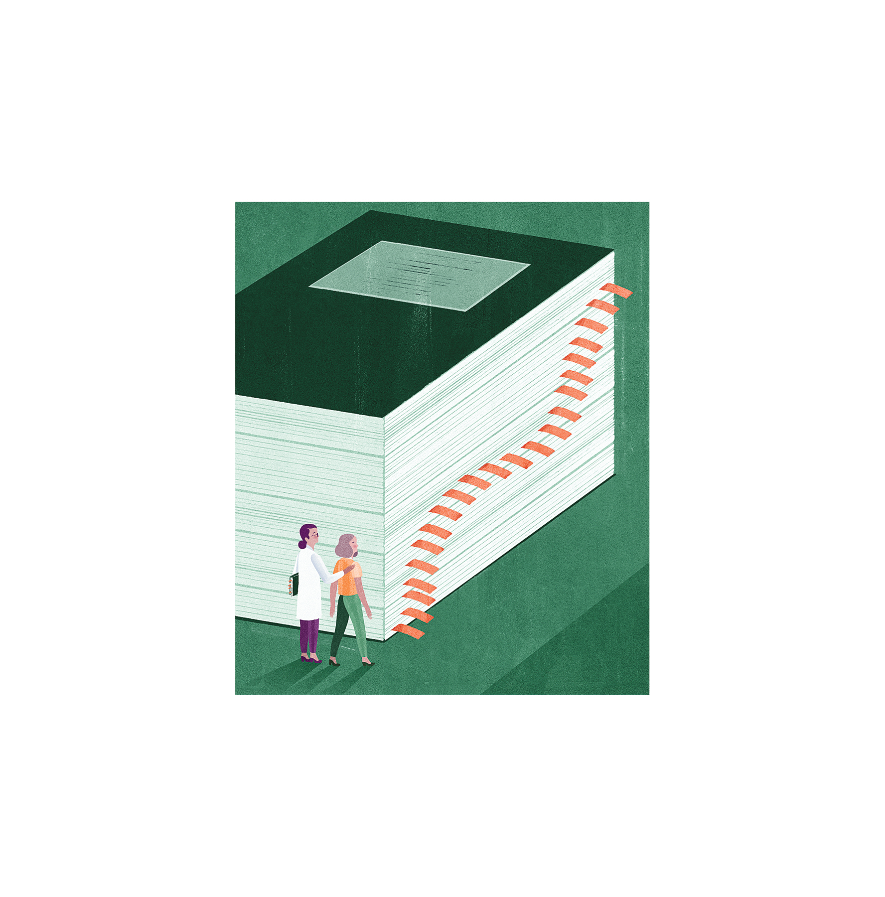 Illustration: Doctor and woman with huge medical book