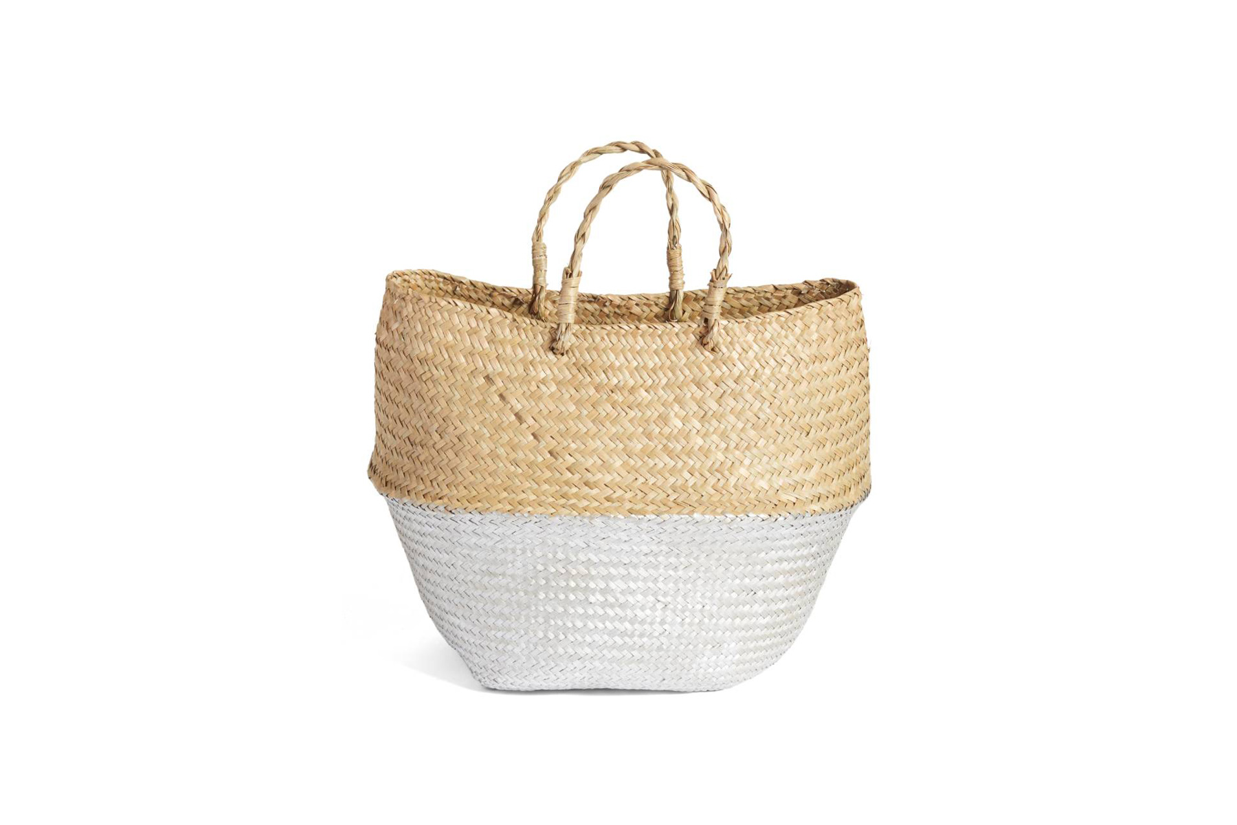Levtex Two-Tone Metallic Straw Basket