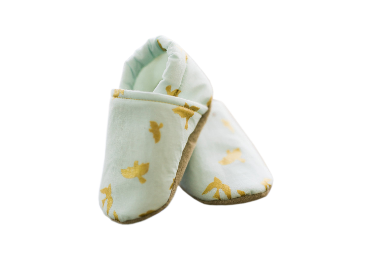 Mint Gold Bird Baby Shoes