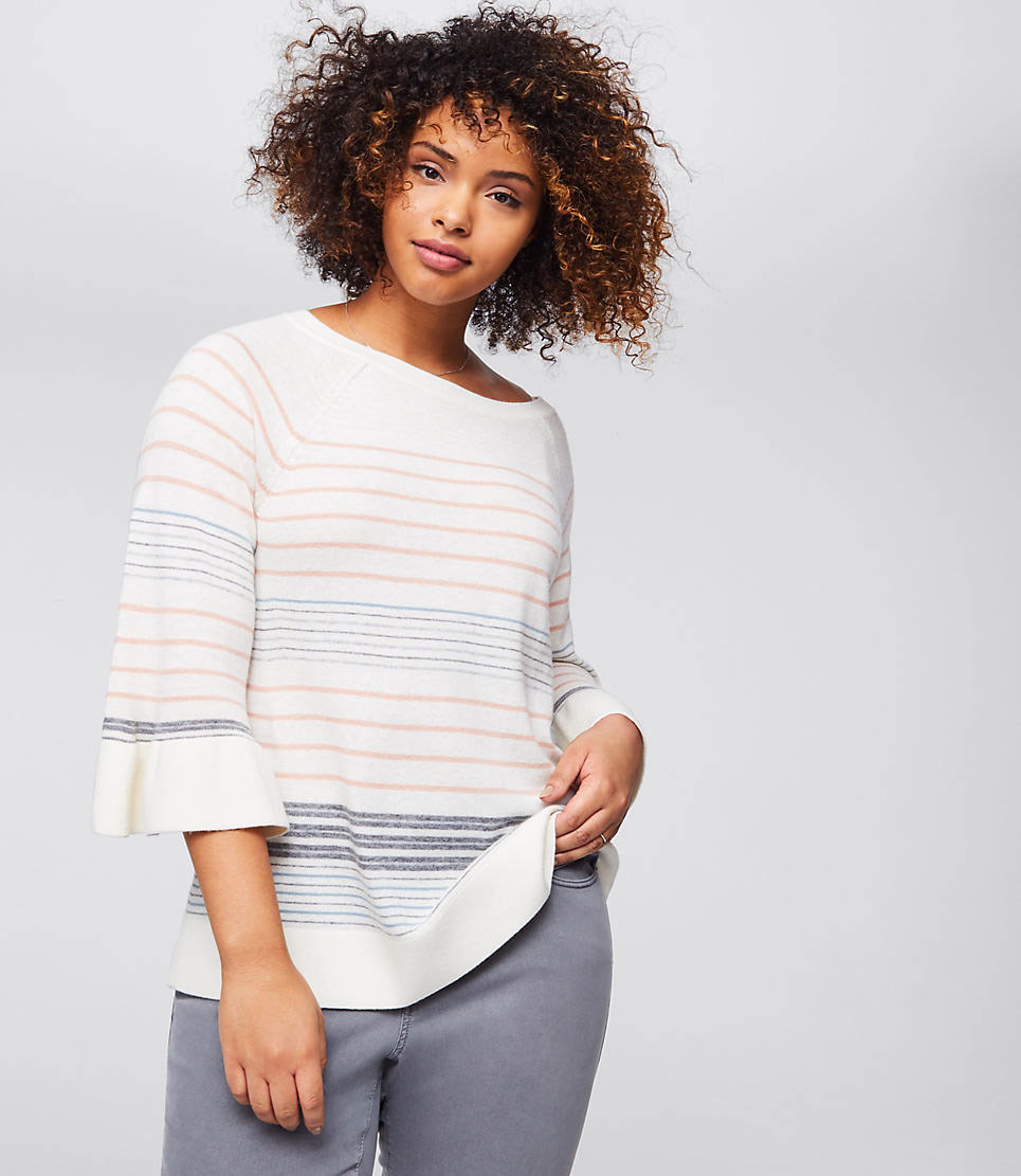 LOFT Plus Mixed Stripe Bell Sleeve Sweater