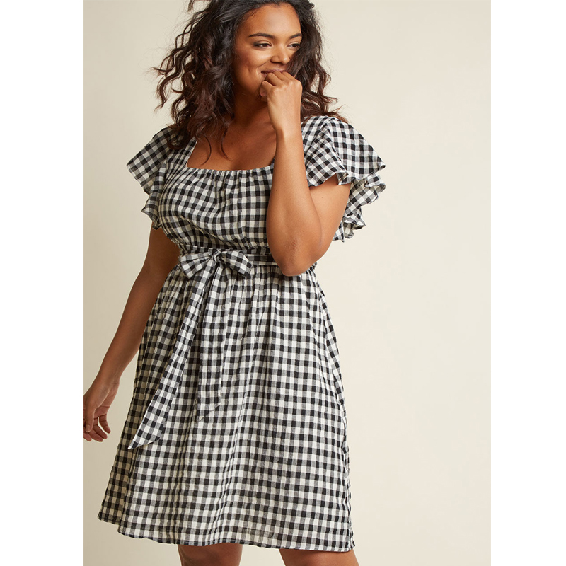 ModCloth Flutter Sleeve Cotton A-Line Dress with Pockets
