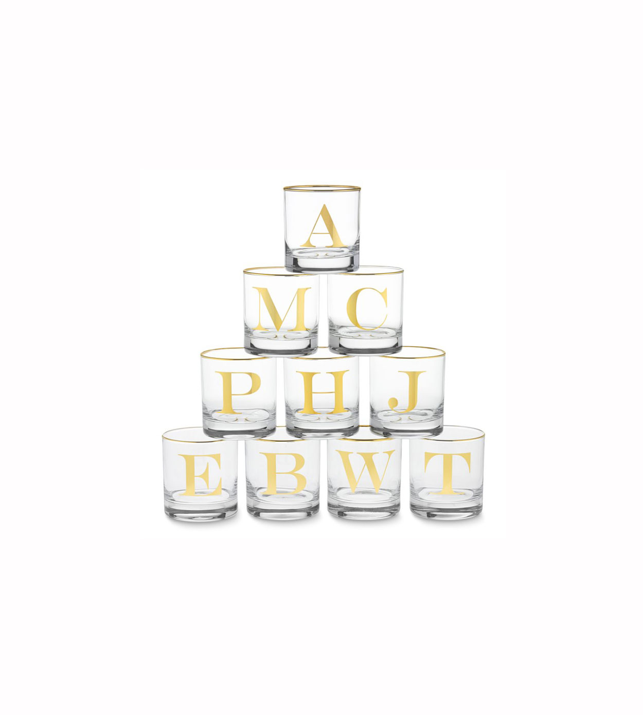 Williams-Sonoma Gold Monogram Double Old-Fashioned Glasses