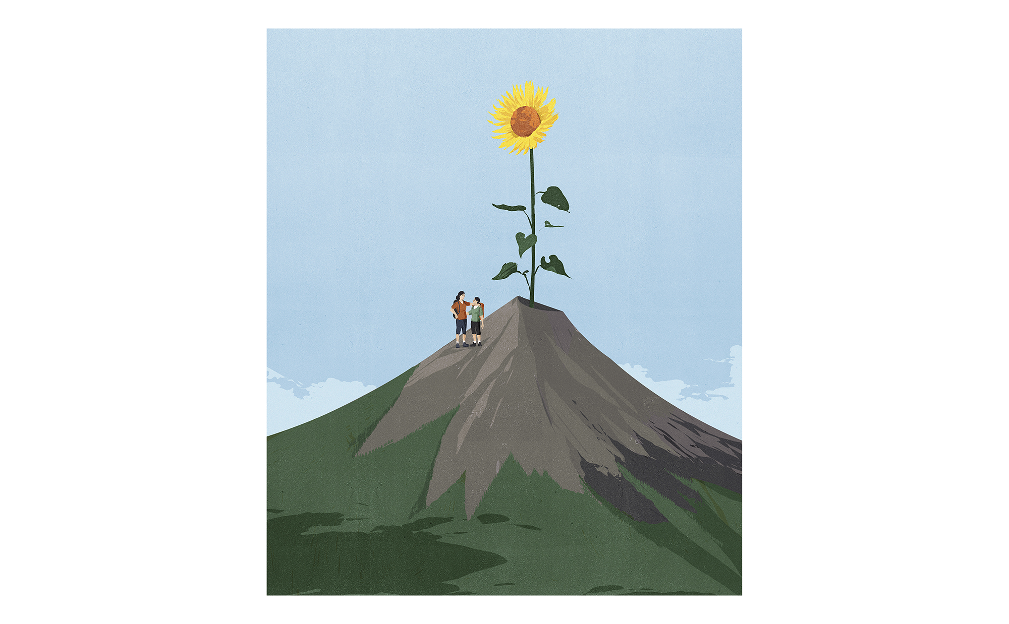 Illustration: mother and son on mountain with sunflower