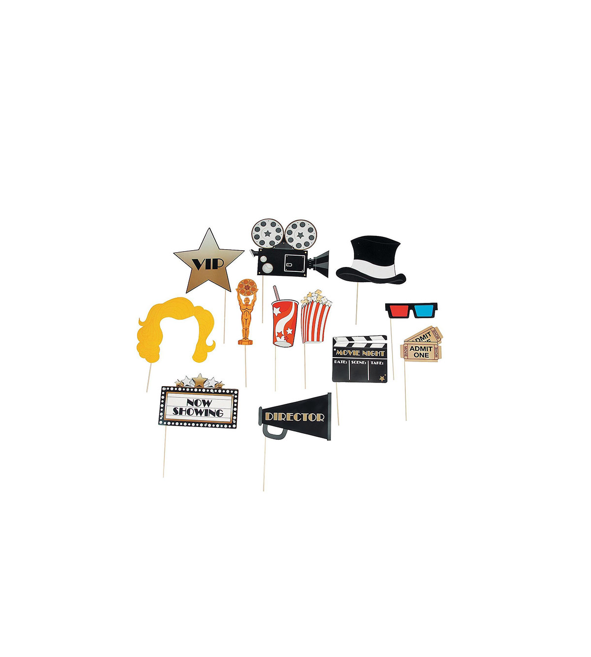 Paper Movie Night Photo Stick Props