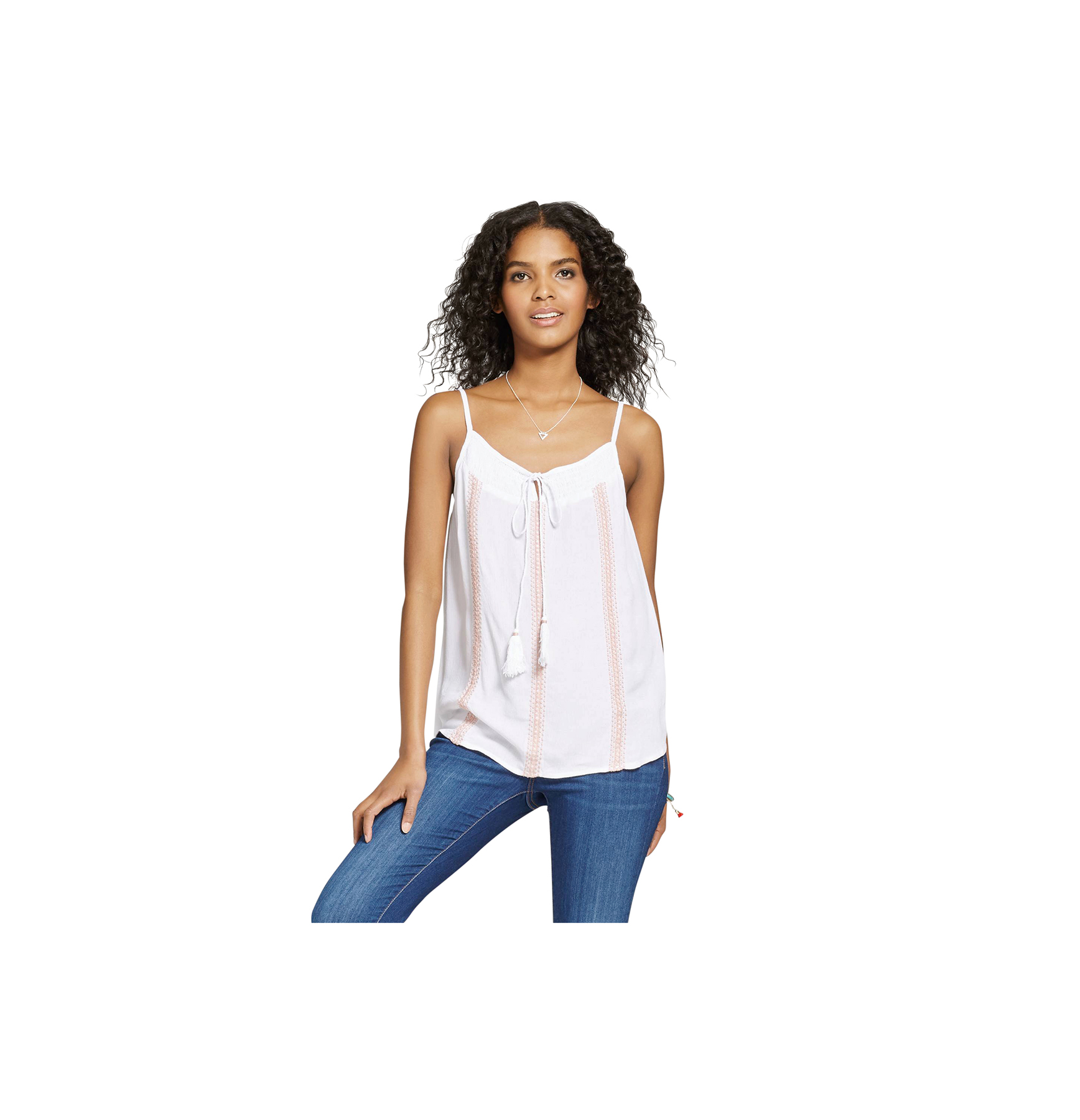 Nitrogen Embroidered Tie-Neck Tank Top