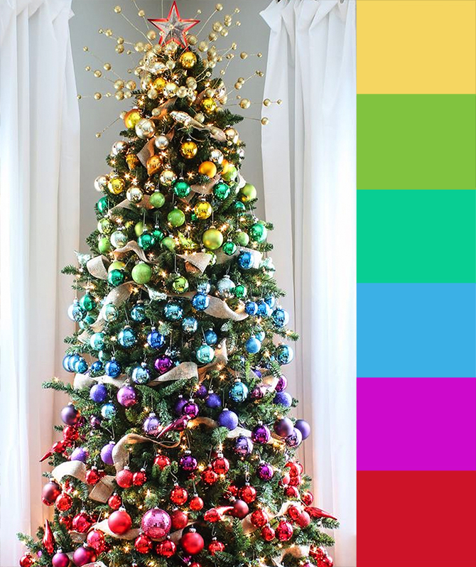 Rainbow Christmas Trees: 4 Christmas Tree Color Palette Ideas