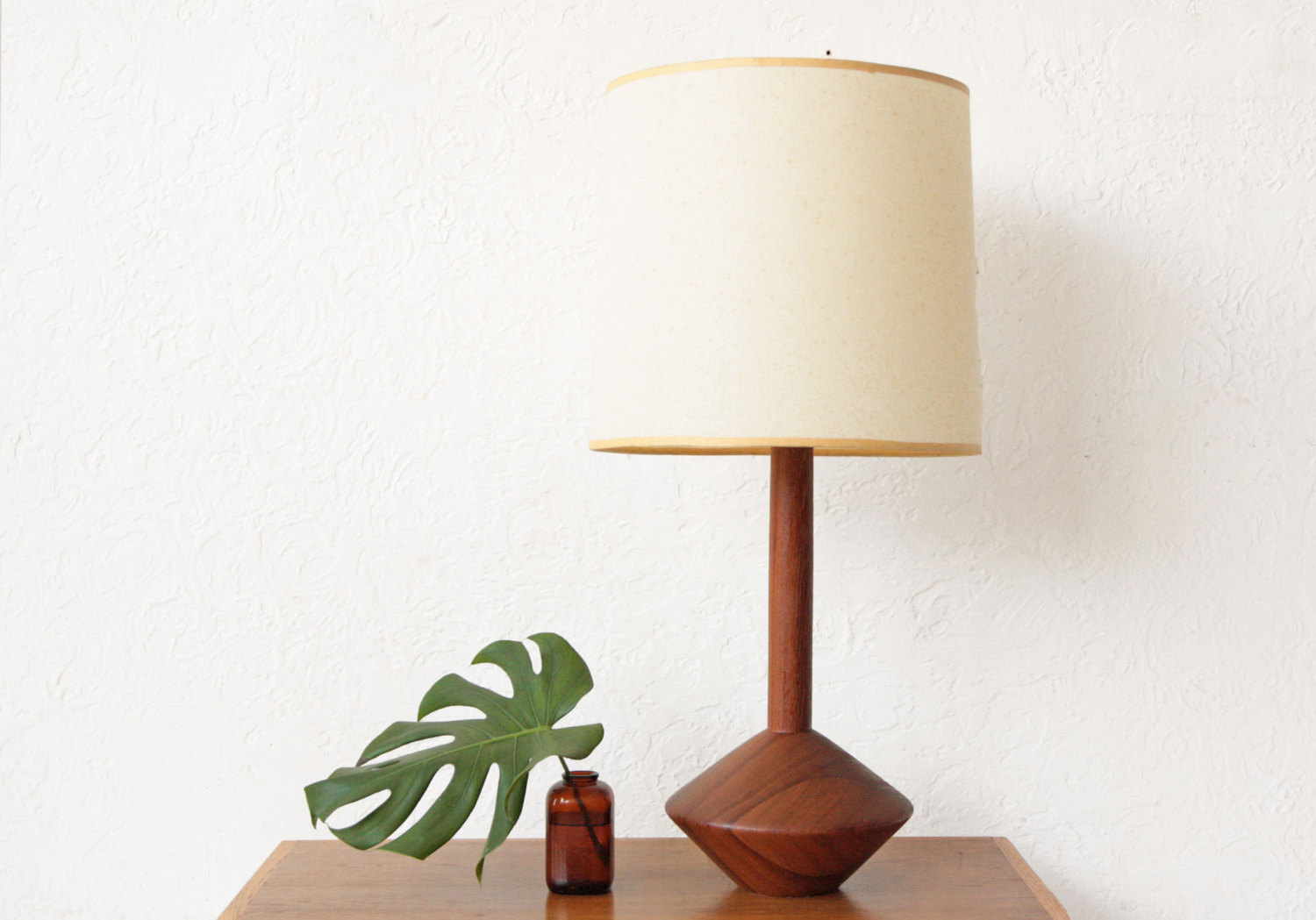 Solid Teak Danish Mid Century table lamp