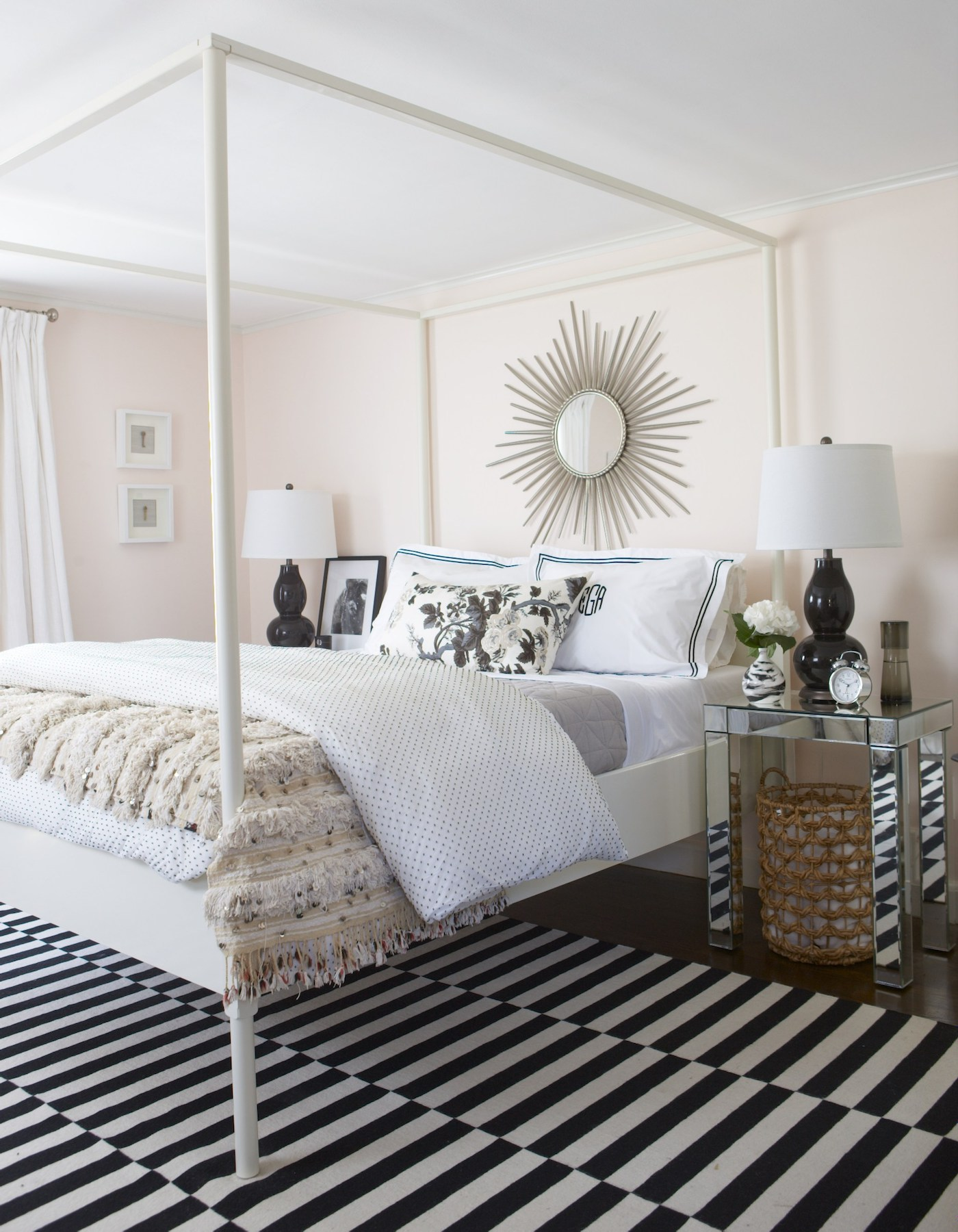 Bedroom painted in Blanched Coral, by Benjamin Moore