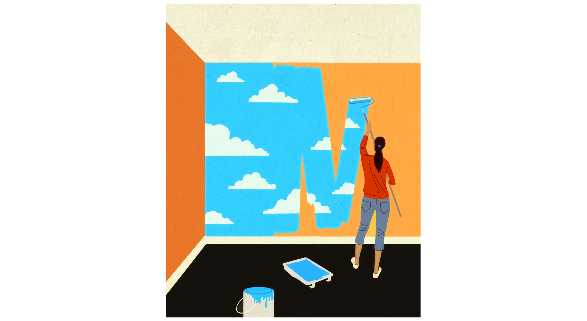Illustration: woman painting clouds on wall