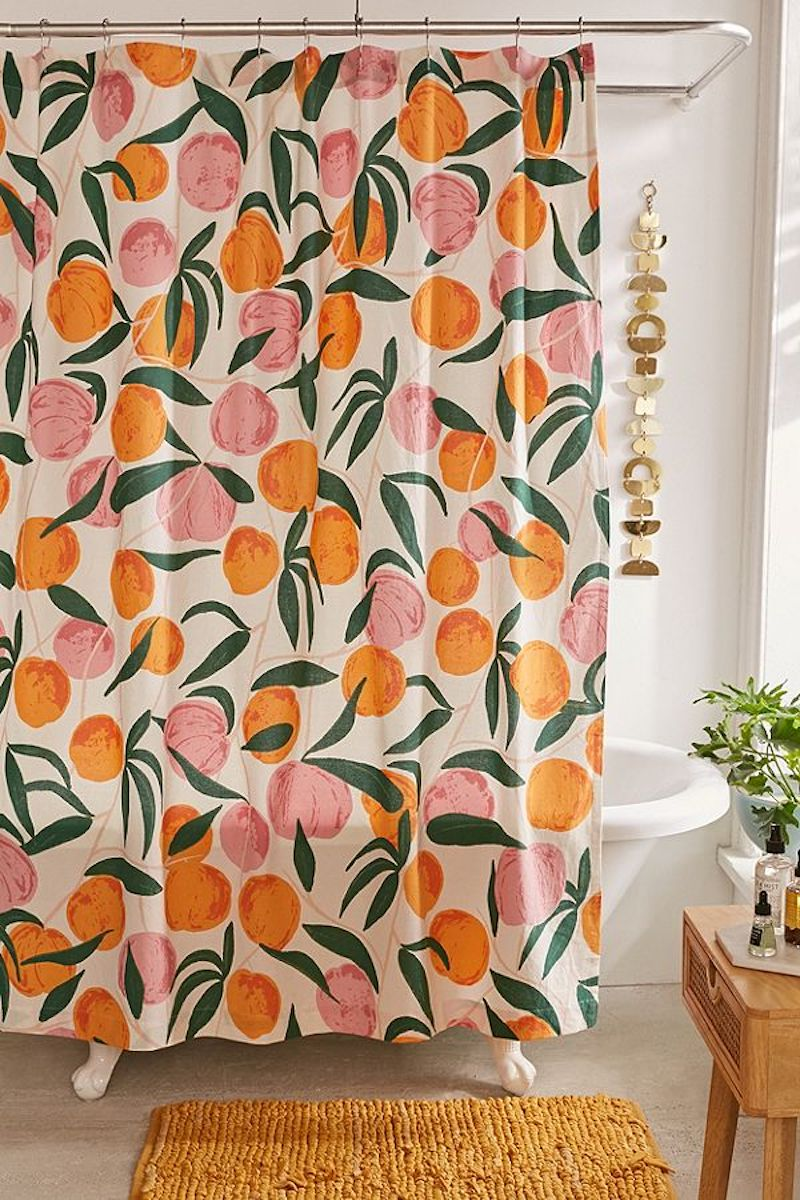 Peaches Shower Curtain in pink and orange