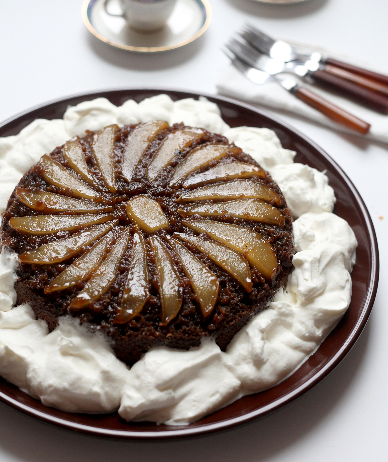 spiced-pear-skillet-upside-down-cake