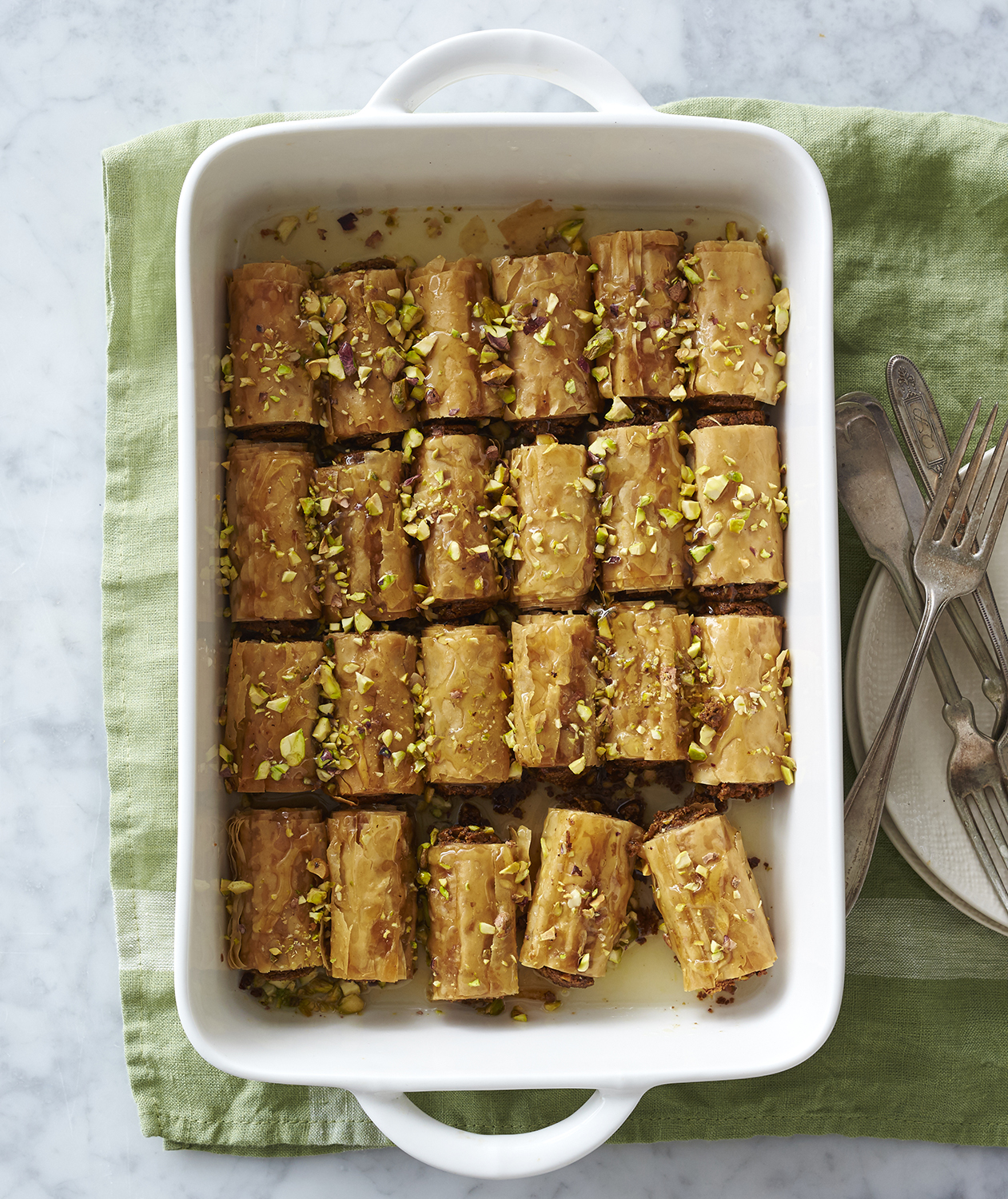 Pistachio Baklava Fingers with Orange Syrup