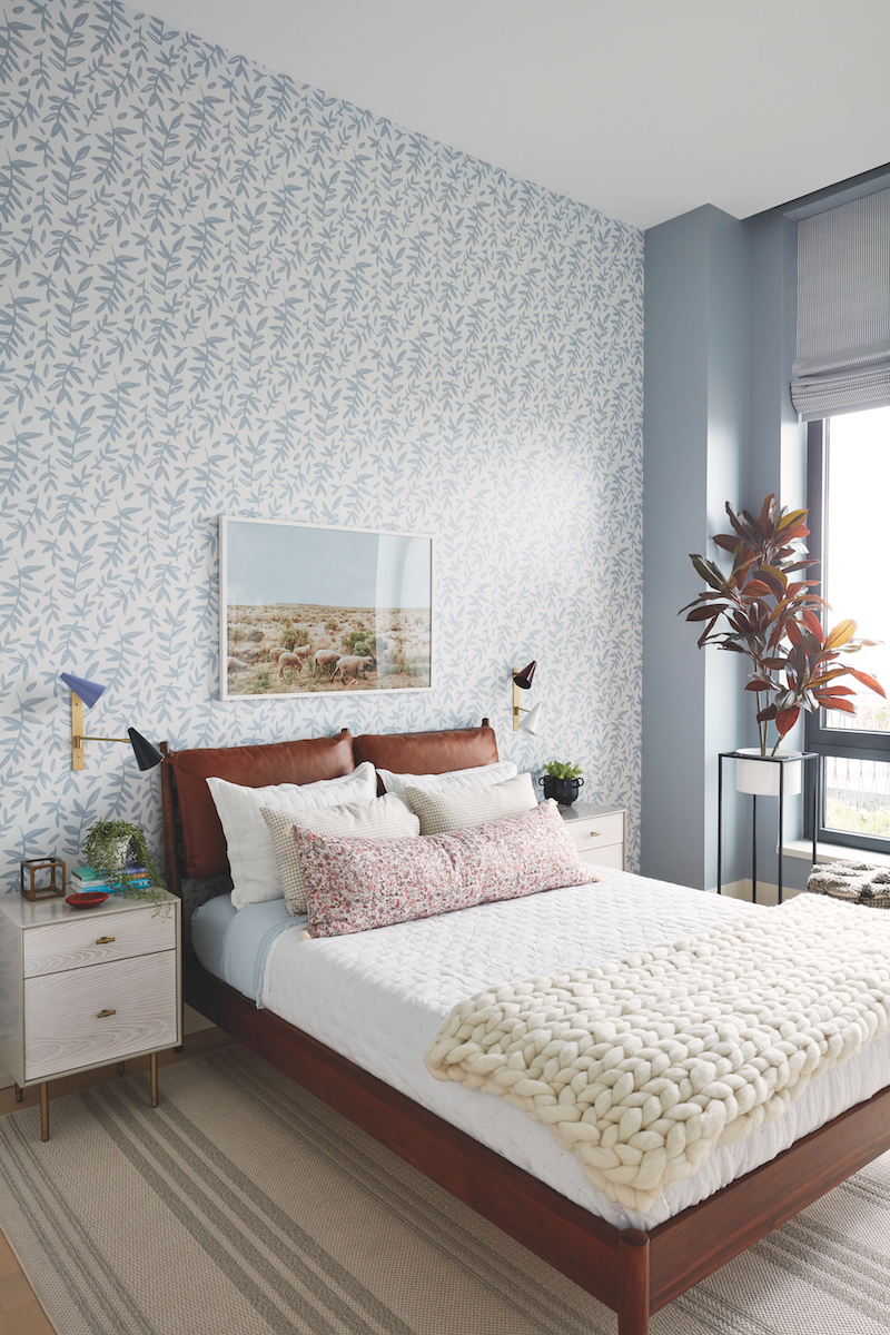 Real Simple Home Kids Bedroom with elevated plant stand