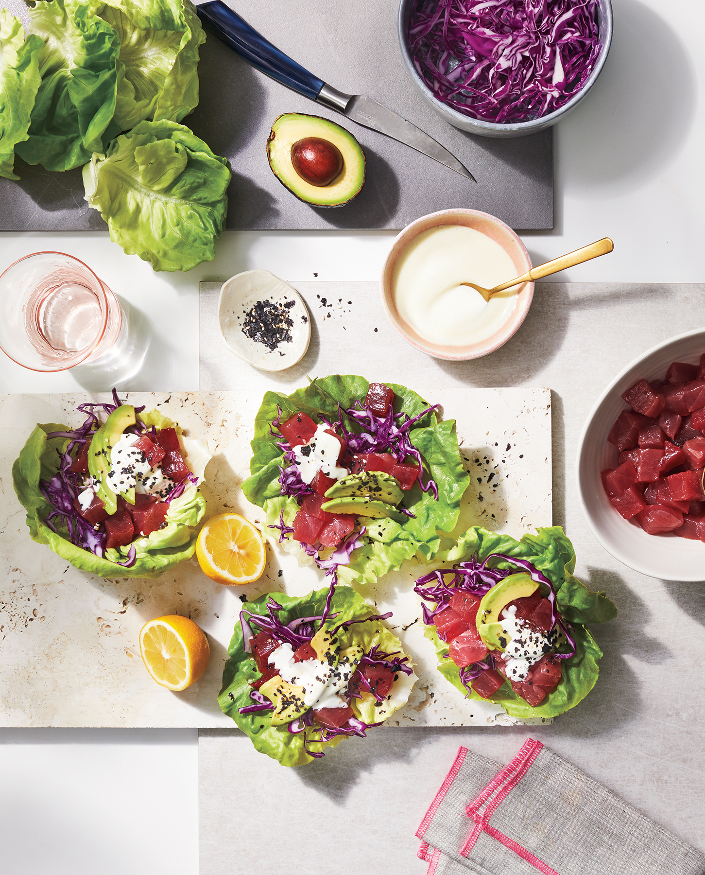 Poke Lettuce Cups With Wasabi-Lime Mayo