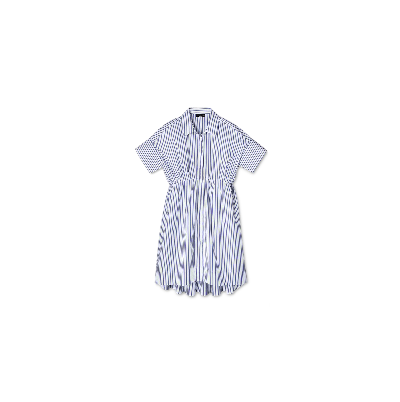 Blue Stripe Poplin Gathered Waist Dress