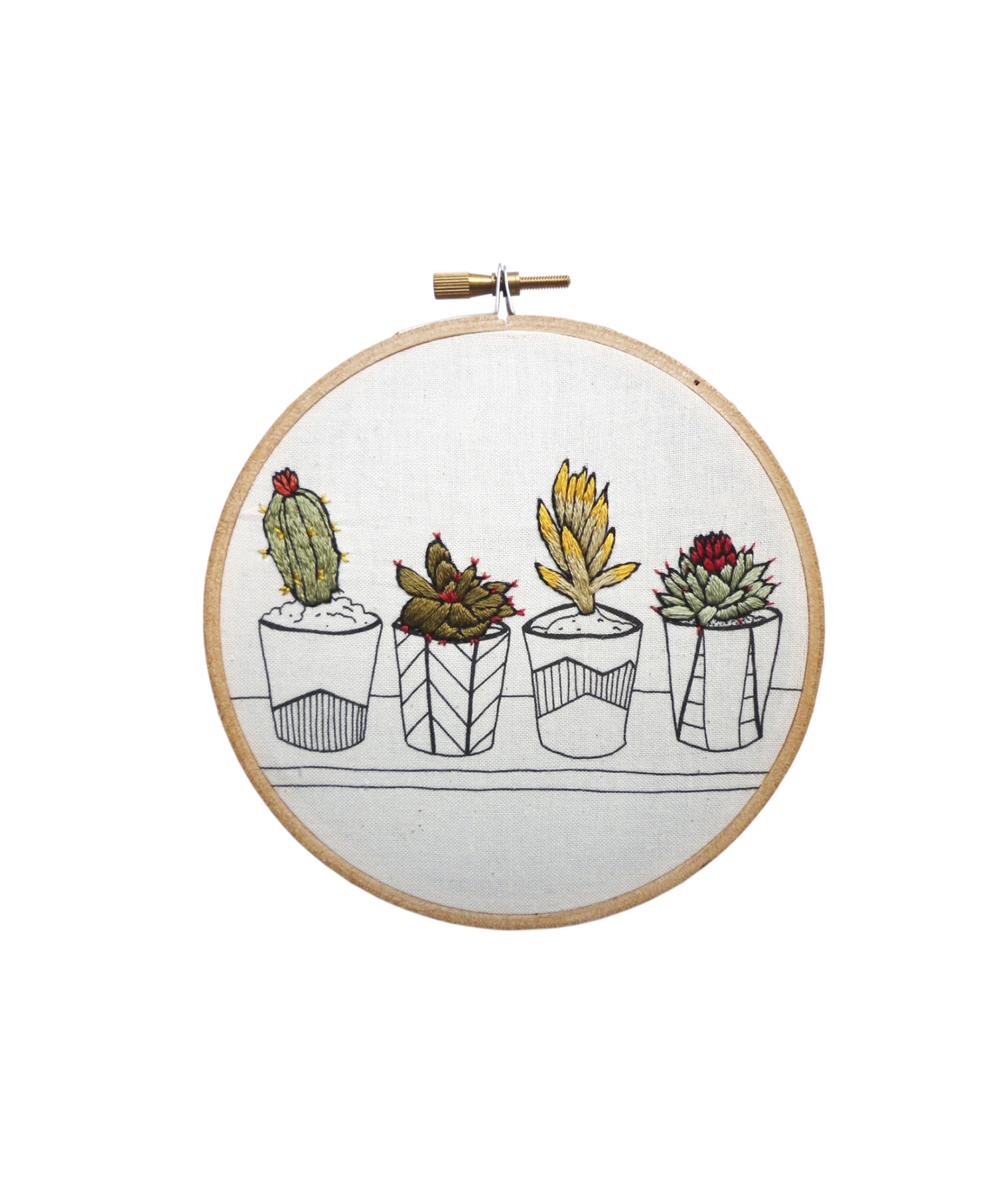 """Pots in a Row"" Embroidery"