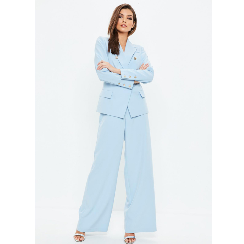 MissGuided Blue Military Blazer Jacket and Blue Wide Leg Pants