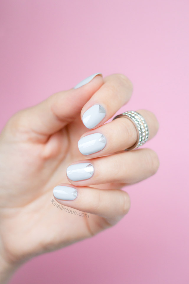 Silver and Grey Triangle Wedding Nails