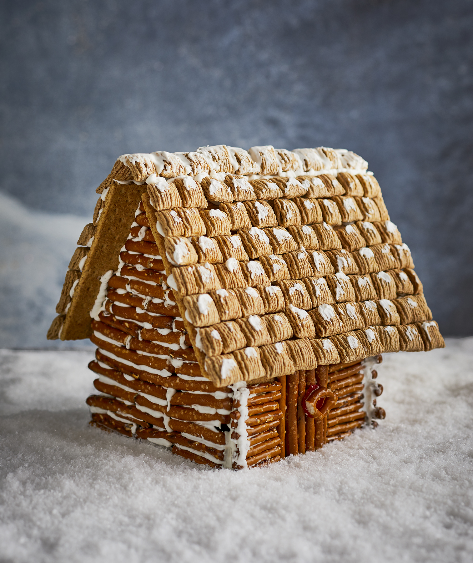 Pretzel Gingerbread Log Cabin