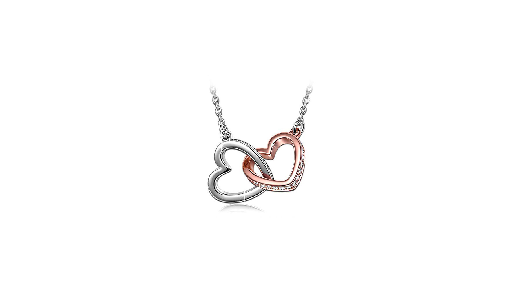 Qianse White Gold Plated Heart Necklace