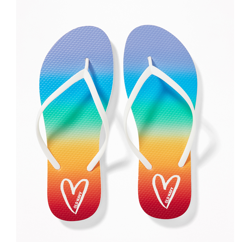 Rainbow Patterned Flip Flops